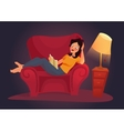 living room with woman Flat vector image