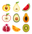 Halve Fruits Icons vector image