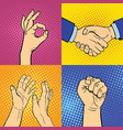 hands showing deaf-mute different gestures human vector image