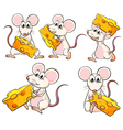 A group of mice carrying slices of cheese vector image