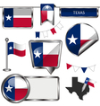 Glossy icons with Texan flag vector image