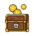 pixelated treasure chest with coins vector image