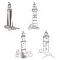 set with lighthouses vector image