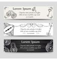 Vintage keys and locks horizontal banners vector image