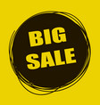 doodle sale tag big sale banner black and yellow vector image