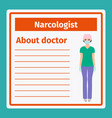 medical notes about narcologist vector image
