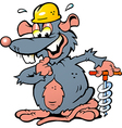Hand-drawn of an Smiling Rat holding a Drill vector image vector image