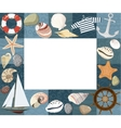 Baby marine photo frame or card vector image vector image