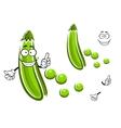 Cartoon green pea pod vegetable vector image vector image
