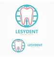logo tooth with world vector image