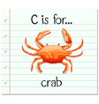 Flashcard letter C is for crab vector image