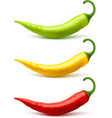 Chili Pepper Pods Set Realistic Shadow vector image