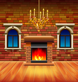 Vintage interior with wooden floor and fireplace vector image