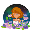 A young lady at the garden vector image