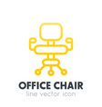 office chair icon in linear style over white vector image