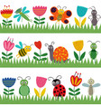set of isolated borders with funny insect vector image