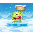 An iceberg with a scared monster near the empty vector image vector image