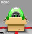 3d green robo eyeborg exiting from a brown box vector image
