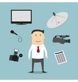 Reporter profession and broadcasting devices vector image vector image