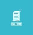 Flat real estate blue building logo vector image