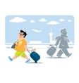Funny air passenger with suitcase vector image