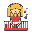 happy little girl playing on piano pianist vector image
