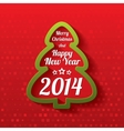 Merry Christmas tree greeting card 2014 vector image