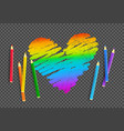 sketch of rainbow colored heart vector image