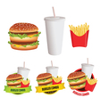 Fast food burger fries and drink vector image