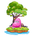 A pink monster crying in the island vector image