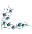 White background with blue flowers vector