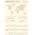World stripes map with set of design elements vector image