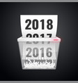 document 2016-2018 is cut into shredder vector image
