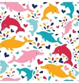 Fun colorful dolphins seamless pattern background vector image