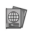 grayscale passport document id to international vector image