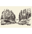 Hand drawn landscape lake and fir forest vector image