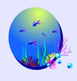 oval with fish and pearls vector image