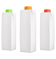 Juice packs with color lids vector image vector image