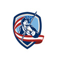 American Patriot Soldier Waving Flag Shield vector image