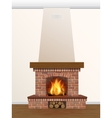 Fireplace with burning fire vector image