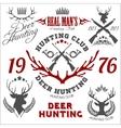 Deer hunting Set of badges labels logo design vector image