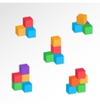 Set of 3d cube combinations Compositions of tree vector image