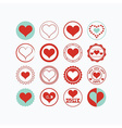 Red and teal heart symbols circle icons set vector image