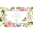 Flower butterfly horizontal banner vector image