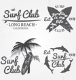 Set of Surf club concept Summer surfing retro vector image