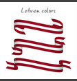 set of three ribbons with the latvian colors vector image
