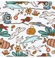 Underwater colorful engraving tropic pattern vector image