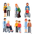 Disabled people group or hospital patients and vector image