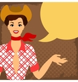 Card with beautiful pin up cowgirl 1950s style vector image
