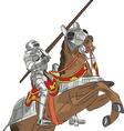 medieval knight in armor on horseback vector image
